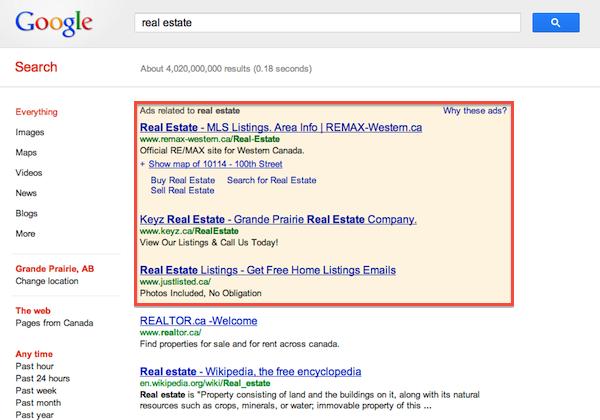 Real Estate Advertising on Google AdWords in Grande Prairie