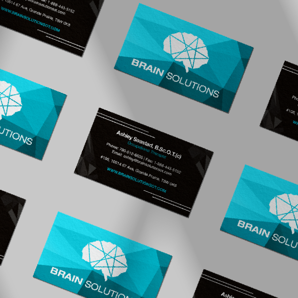 nine10 portfolio project brain solutions visual identity business cards