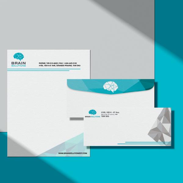 nine10 portfolio project brain solutions visual identity stationery