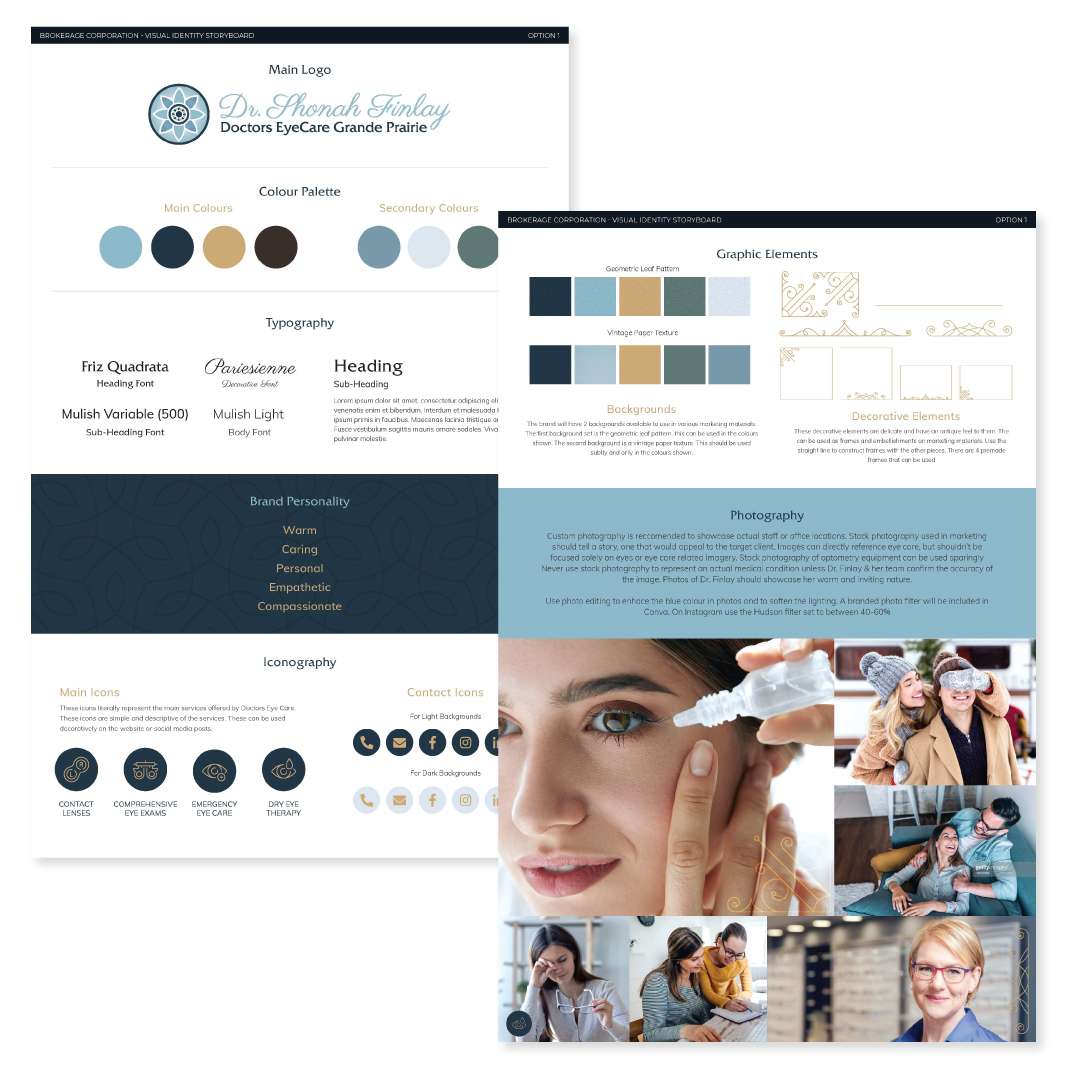 Brand book Created for Dr. Shonah Finlay at Doctors EyeCare Grande Prairie